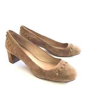 TORY BURCH COLT suede leather block heel pumps 8.5